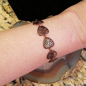"Vintage Copper heart & flower bracelet 8"" GUC"